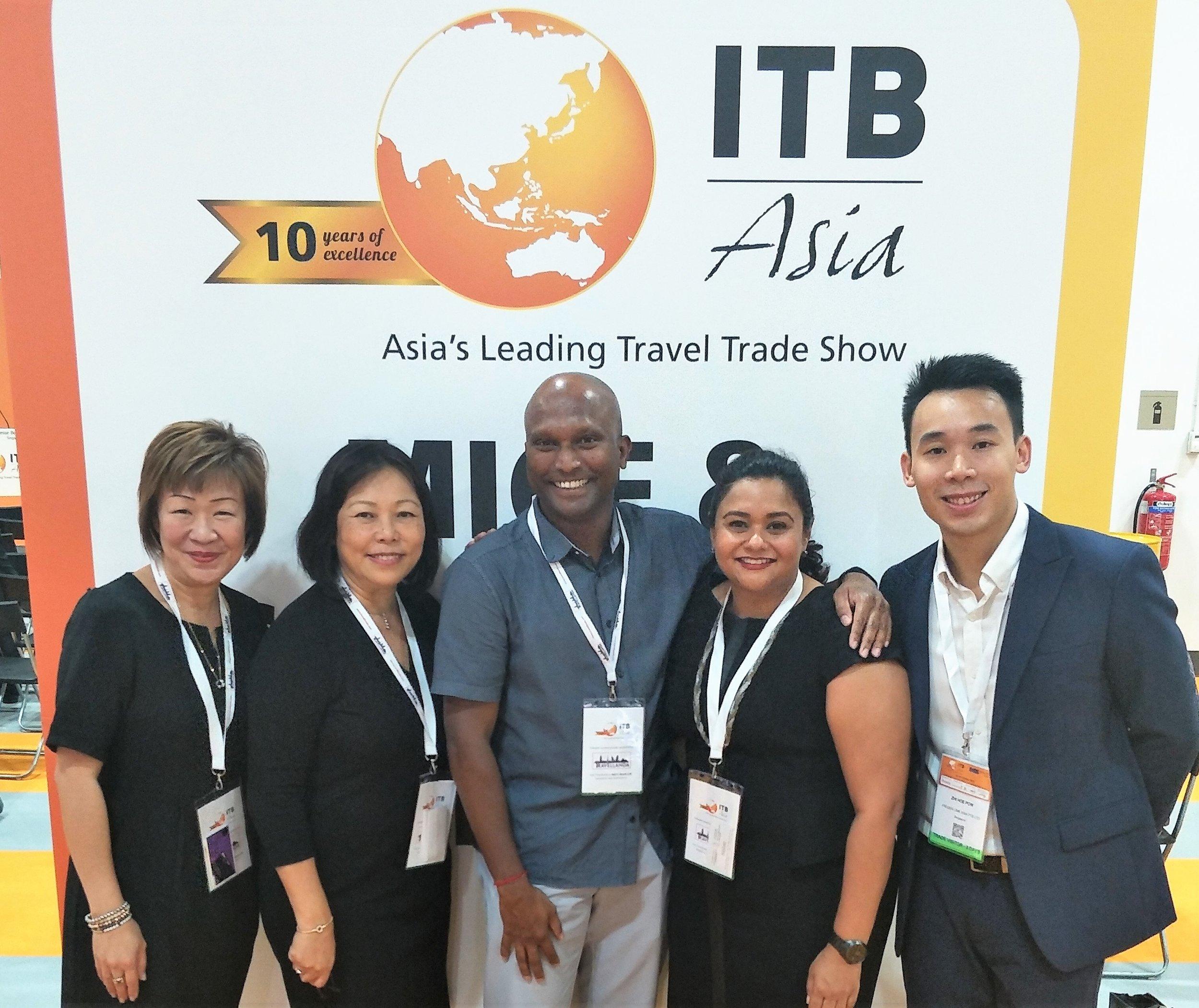 From left to right:  Ms Aileene Thangaveloo (Director - Marketing, FLA), Ms Serene Law (VP, FLA), Mr Christy Guna Desa (General Manager, The Damai Bali), Ms Jagdish Sandhu (CEO, FLA), Mr Pow Zhi Hoe (Asst Sales Manager, FLA).