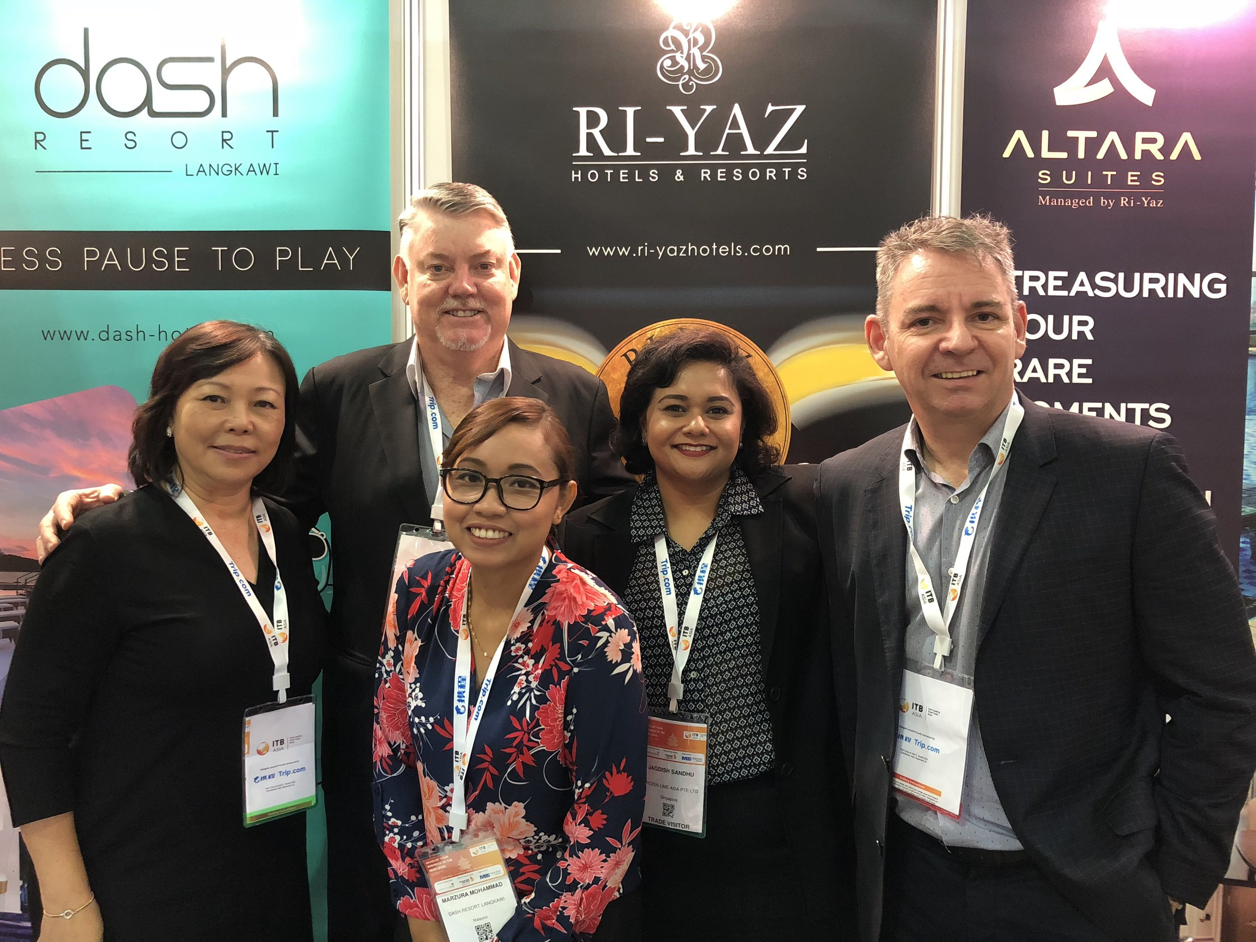 From left to right:  Ms Serene Law (FLA), Mr Gary Warnock (Altara Suites), Ms Marzura Mohammad (Dash Resort Langkawi), Ms Jagdish Sandhu (FLA), Mr Andreas Rud (Ri-Yaz Hotels & Resorts).