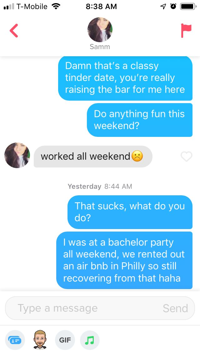 Example of a Boring Tinder Convo