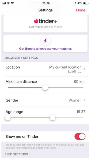 Tinder km distance
