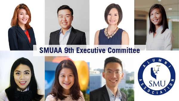 From left to right Top row: Joy Lim (President), Benjamin Mui (Vice-President (Governance)), Ivy Wong (Vice-President (Outreach)), Vivian Neo (Treasurer) Bottom row: Claressa Sim (Secretary), Cherie Neo (Director (Marketing)), Lee Kang Wee (Director (Partnerships))