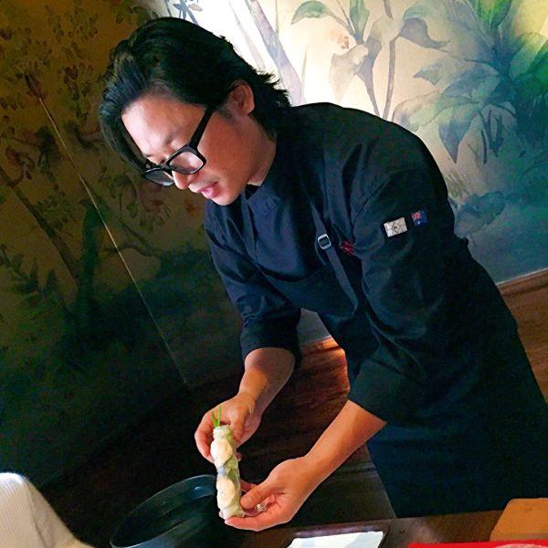 Chef Luke Nguyen demonstrating the correct way to make rice paper rolls