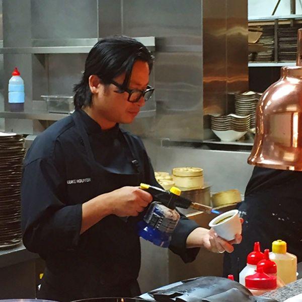 Chef Luke putting the finishing touches to dessert.