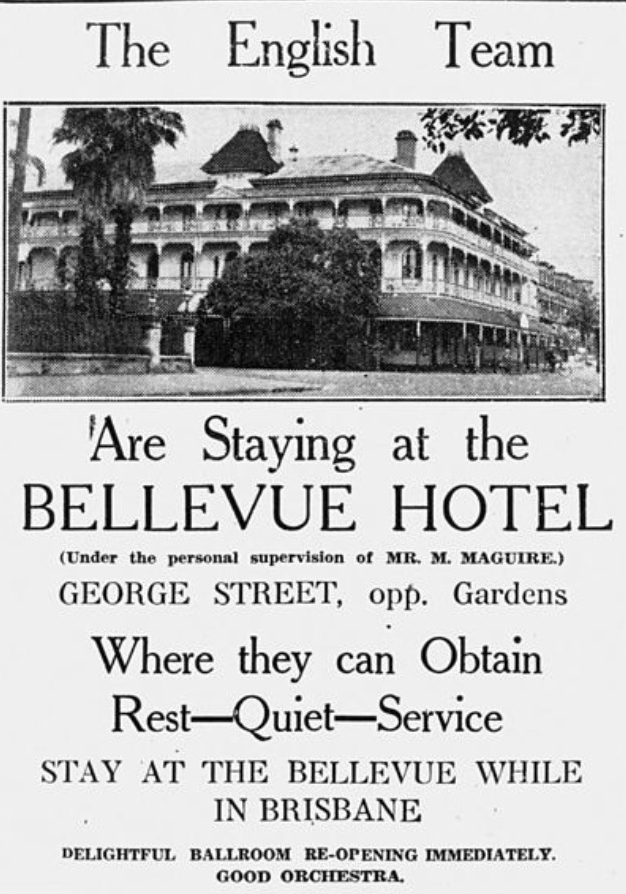 Bellevue Hotel Advertisement as featured in the Telegraph. Image credit State Library of Queensland.