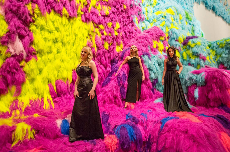 Cassandra Seidemann, Kathryn Bradbury and Katie Stenzel performing as part of Sensory at GOMA, 2017, feat. Hrafnhildur Arnardottir's Nervescape V 2016. Image by Stephen Henry.
