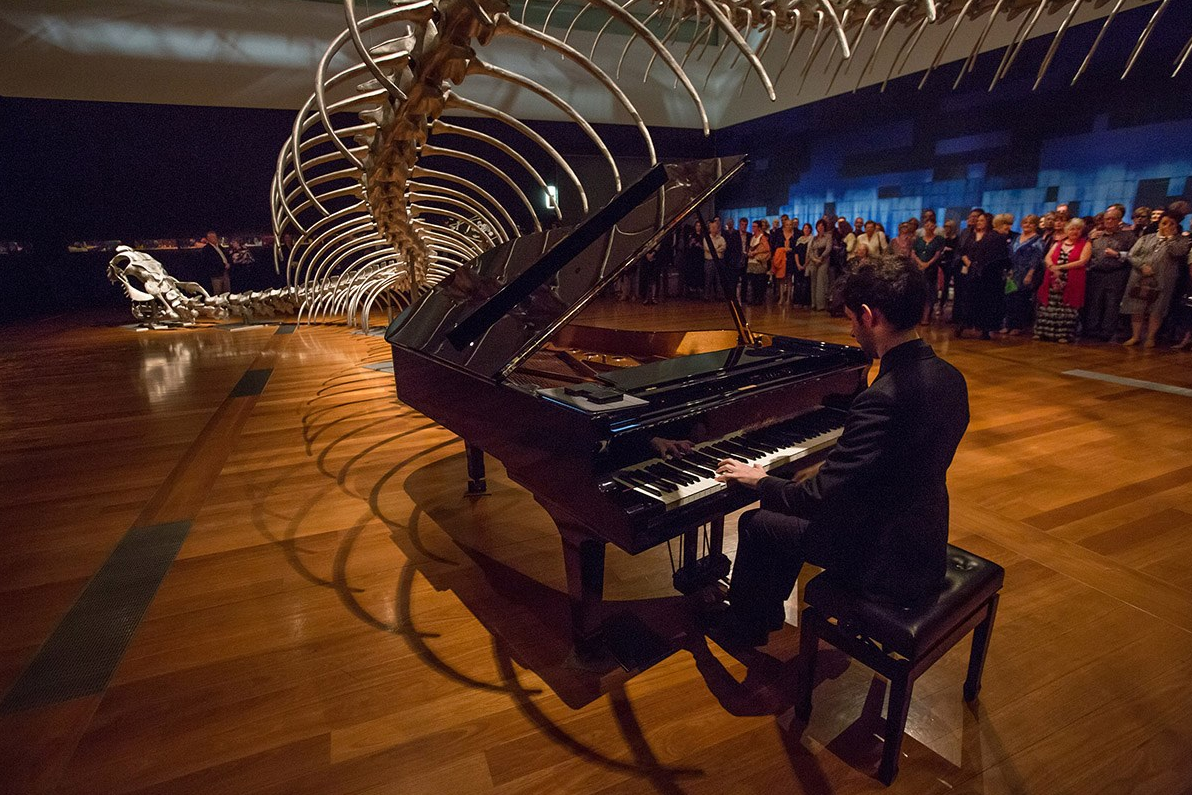 Alex Raineri performing as part of Sensory at GOMA, 2017. Image by Stephen Henry