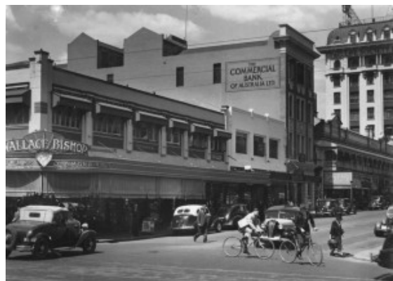 Wallace Bishop Jewellery Store on the corner of Albert & Adelaide Streets, Brisbane, 1939. Image credit - State Library of Qld.