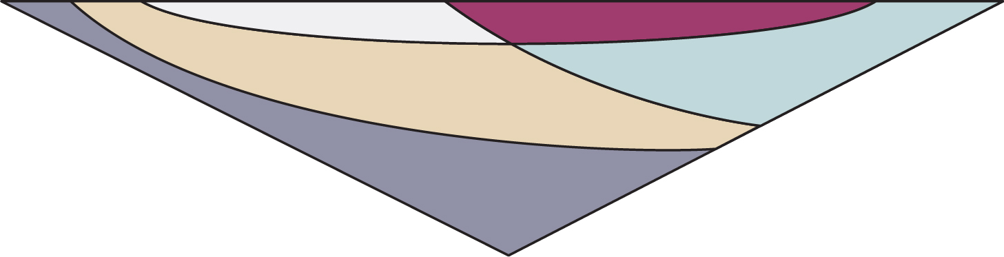 Worked from side to side, Bristol has created intersecting shapes in strong colour blocks.