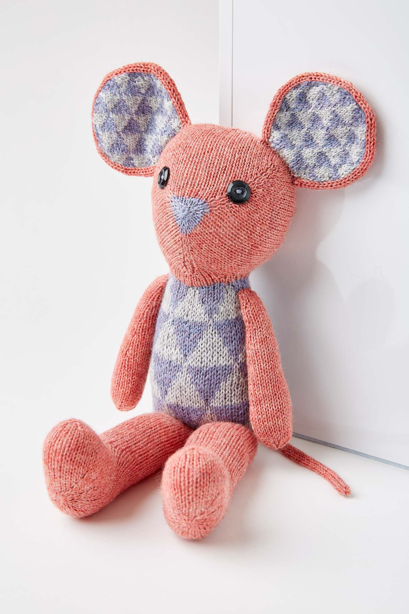 Alex the Mouse uses 3 skeins of Coop Knits Socks Yeah! in contrasting colours. Image © Jesse Wild.