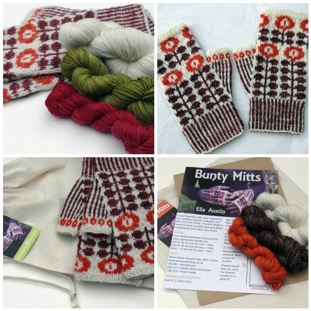 Ella's Bunty Mitts kit is a thing of beauty and available in a number of different colourways. Image © Ella Austin.