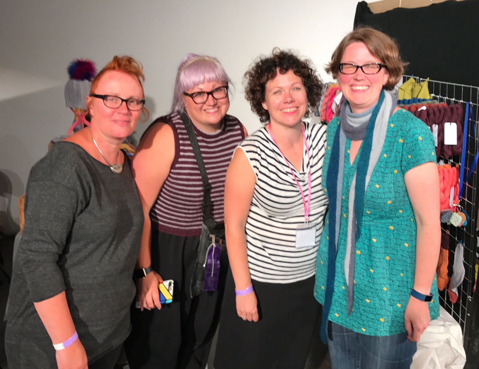 Left to right: Woolly Wormhead, Rachel Coopey, Sarah Hatton and me (Jen Arnall-Culliford)