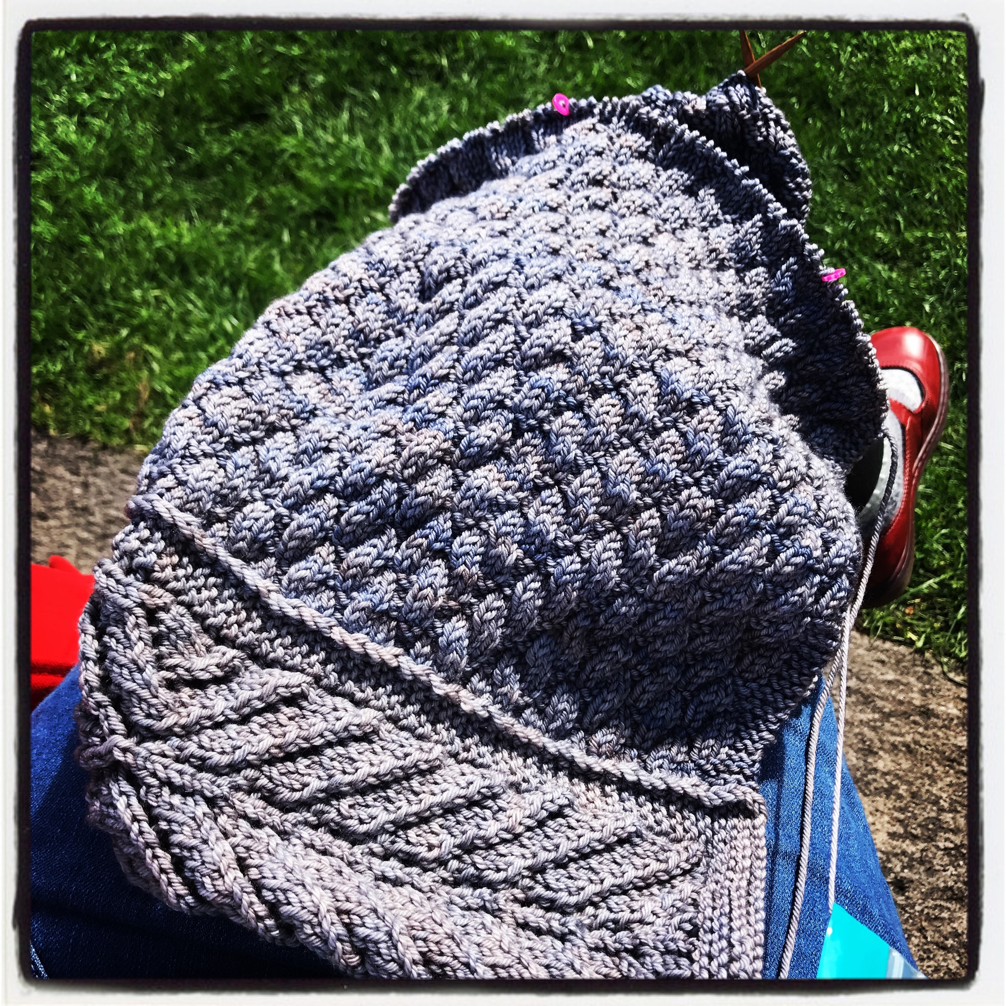 With a few days of park knitting, my Little Tern blanket is coming along nicely.