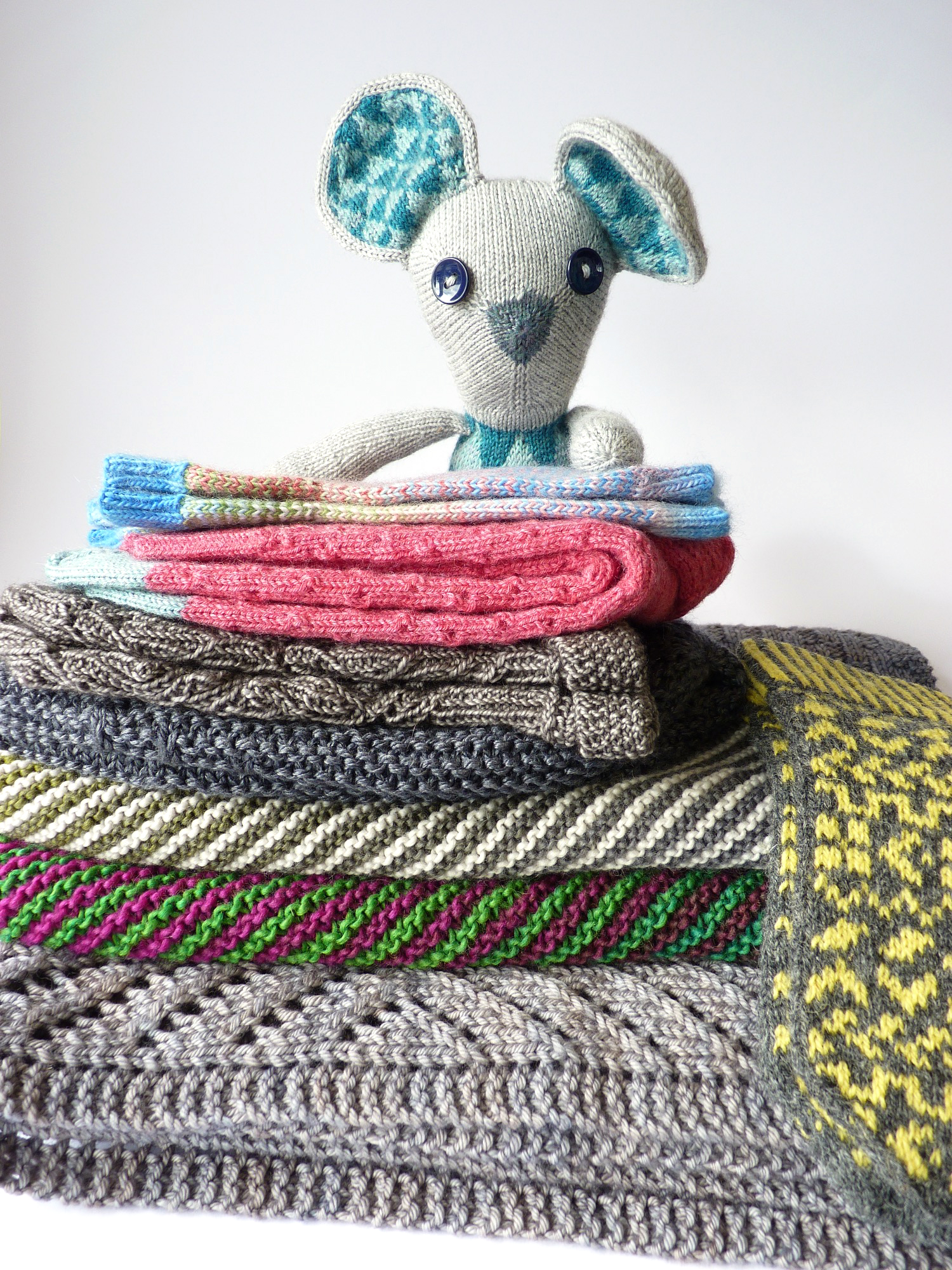 """My A Year of Techniques projects (minus my Brambling which is in the """"wearing basket"""" at home!)"""