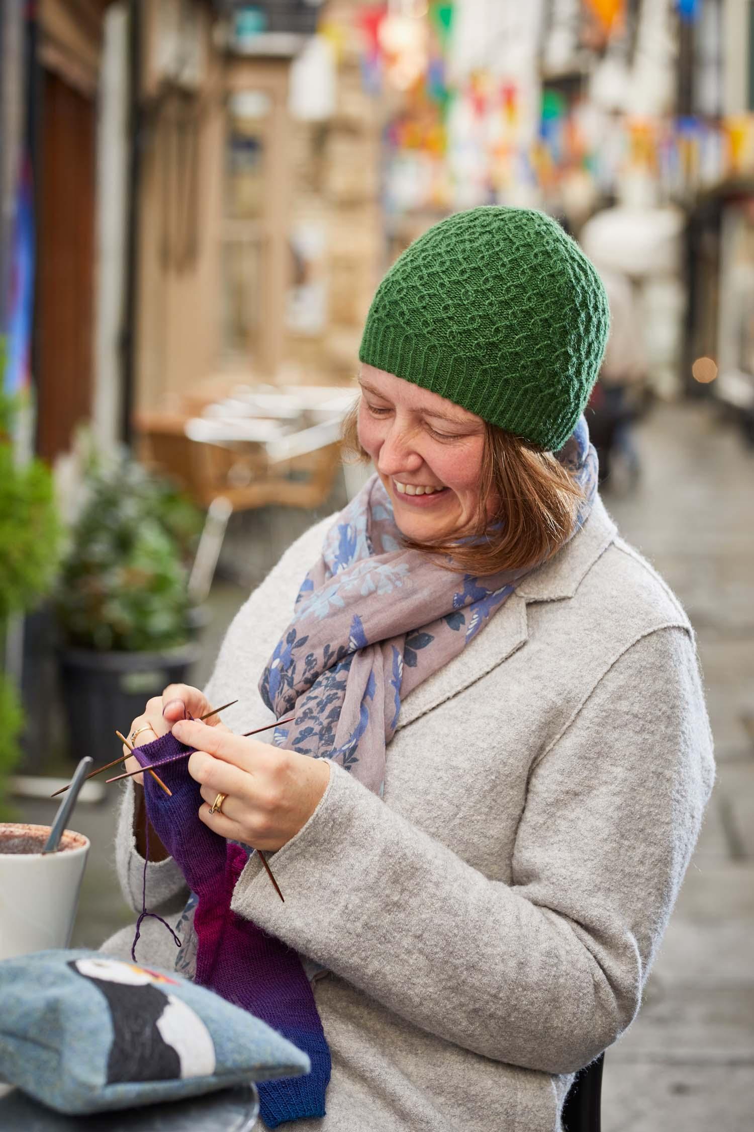 My Sumburgh Hat uses 2 balls of J&S Shetland Heritage. Image © Jesse Wild