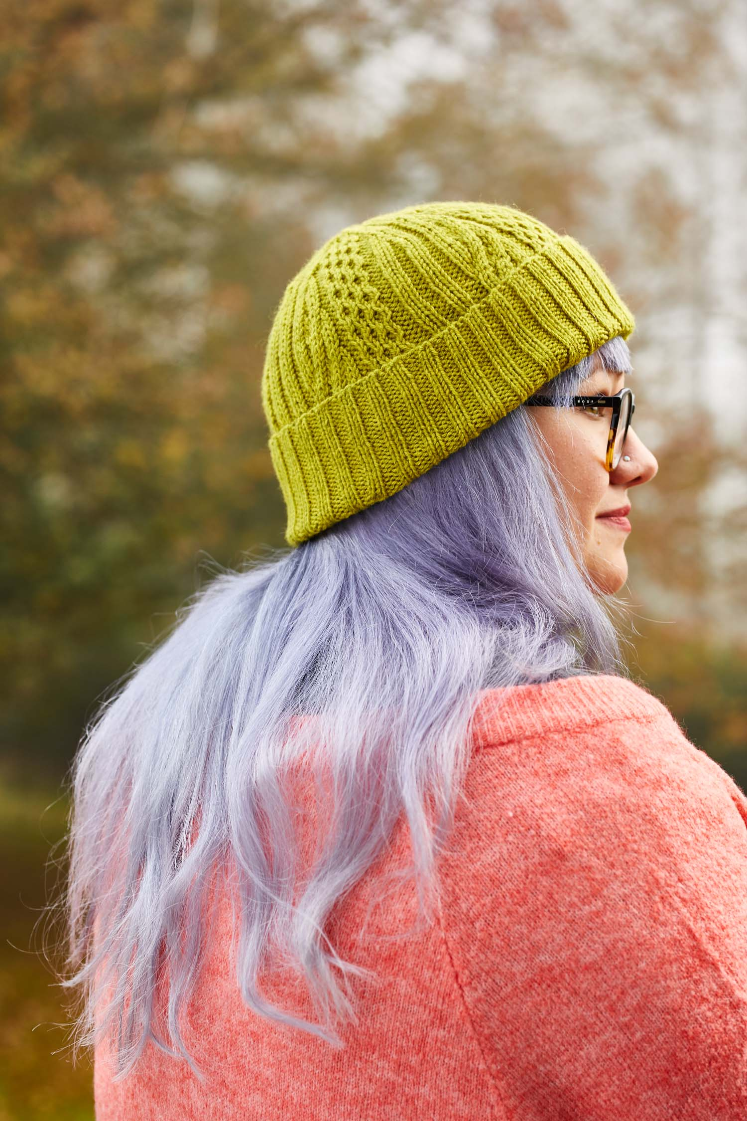 Featuring two panels using different cable crosses, the Areto hat is a great beginner cable project. Image ©Jesse Wild