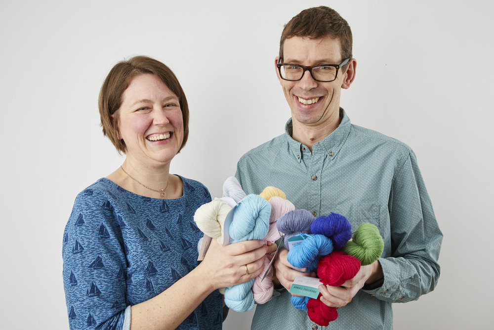Jim and I with your Something to Knit With 4ply. Image © Jesse Wild.