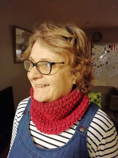 KnittingJinny's cowl , knit in  Cranberries/Cranberrys