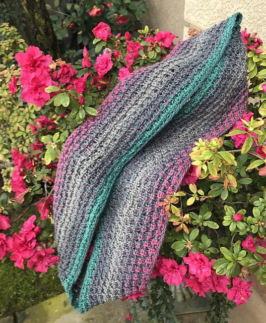 DBukko's extra long Bramen Cowl , which can be worn doubled! Knit in Schoppel Gradient shade  Fan Block/Fankurve