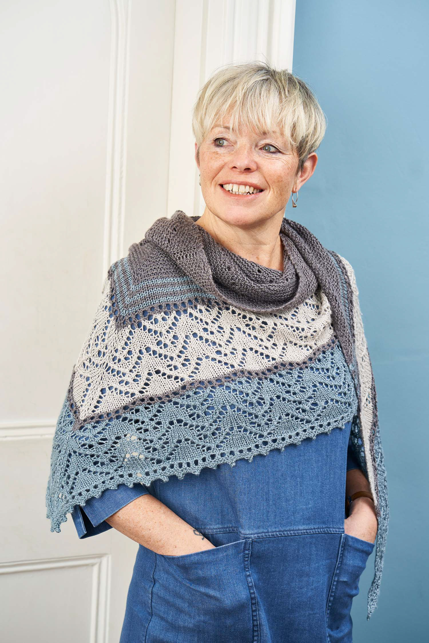 The Sterlyn Shawl by Joji Locatelli, April's Boost Your Knitting Pattern. Photo © Jesse Wild.