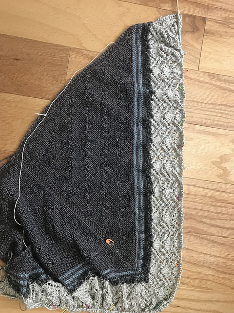 "Melissa's (Melissa92 on Ravelry) has been quick — she reports that she's been kept up late into the evening with false promises of ""just one more row"" for  her version of the Sterlyn Shawl ."