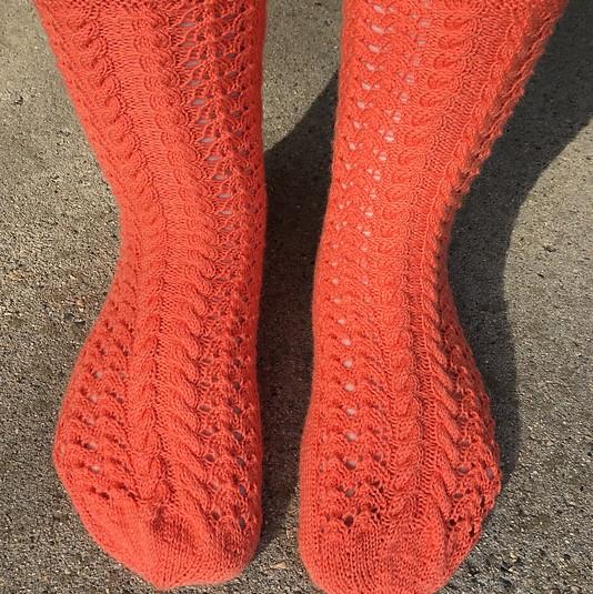 NicoleS 's dreamy tangerine-y lace socks!