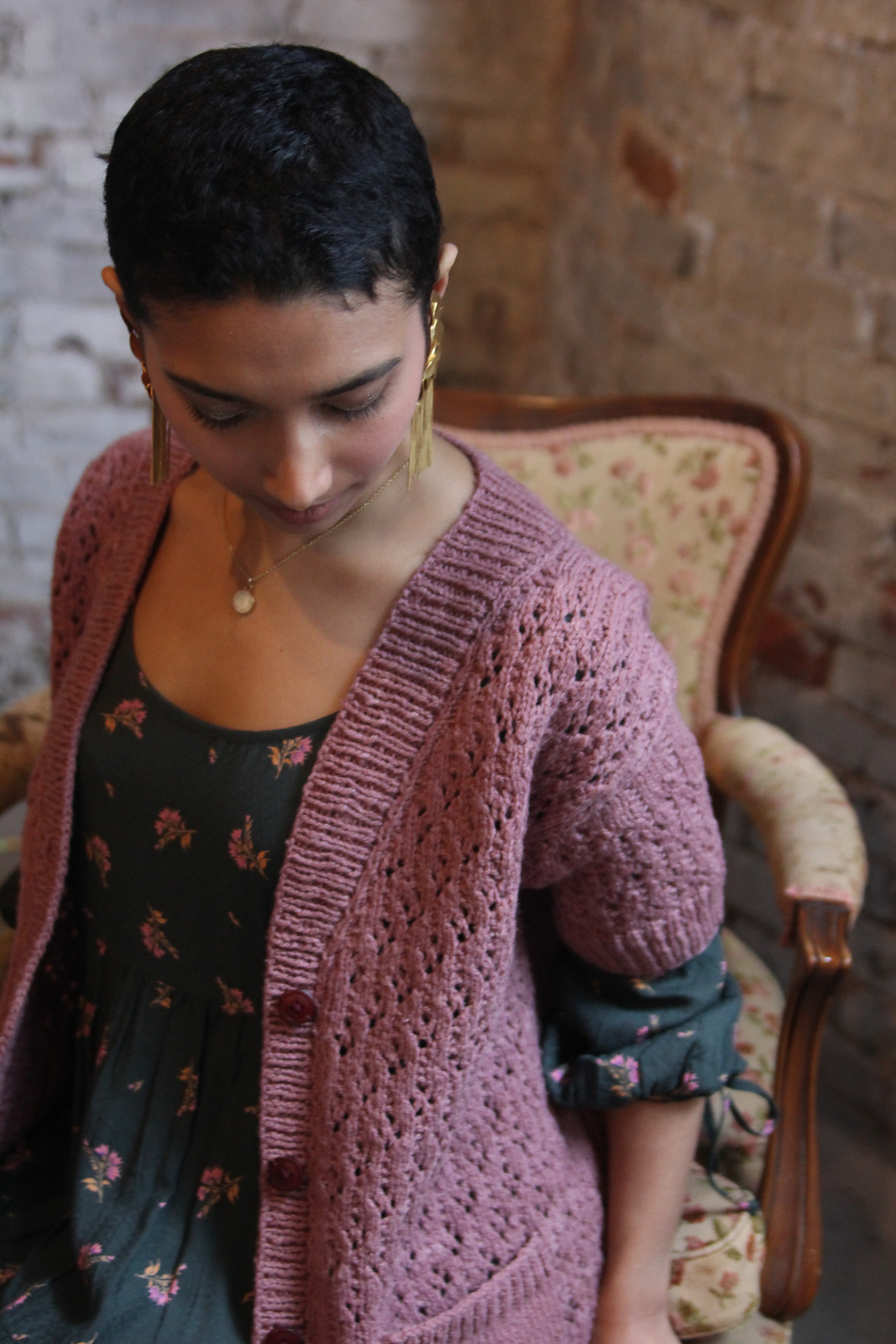 Jack Rose , Thea's most recent sweater pattern — this one went straight into my summer knitting queue! Photo © Thea Colman.