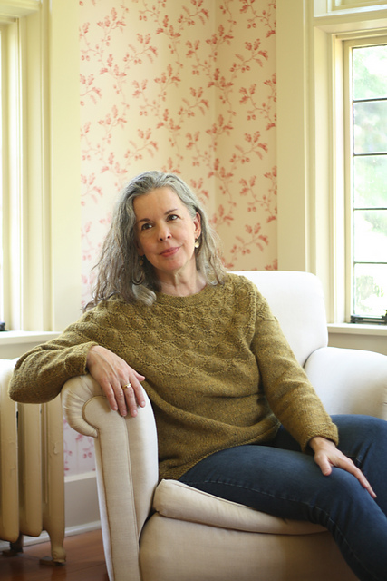 Julia Farwell-Clay wearing her  Coquille  pullover, released earlier this year. Photo © Julia Farwell-Clay.
