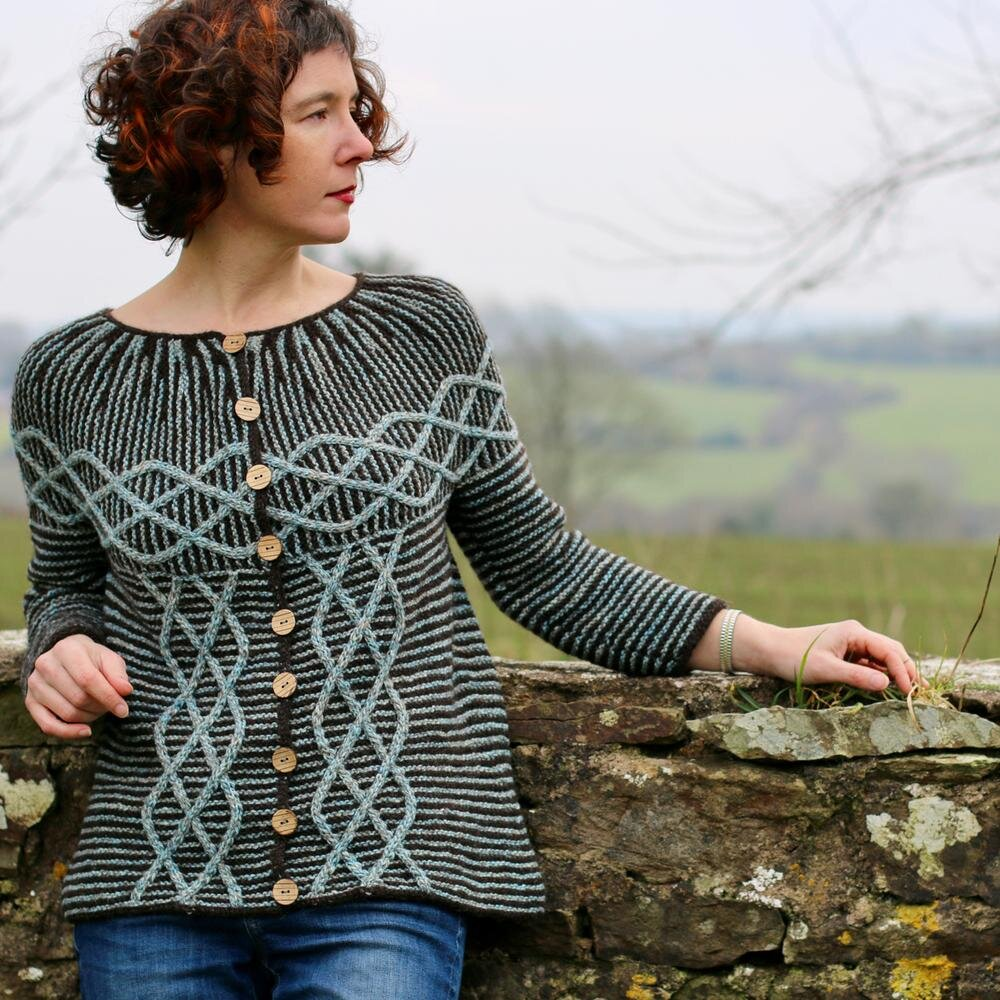 A stunning cardigan — Ribosome by Carol Feller. Photo courtesy of Carol Feller.