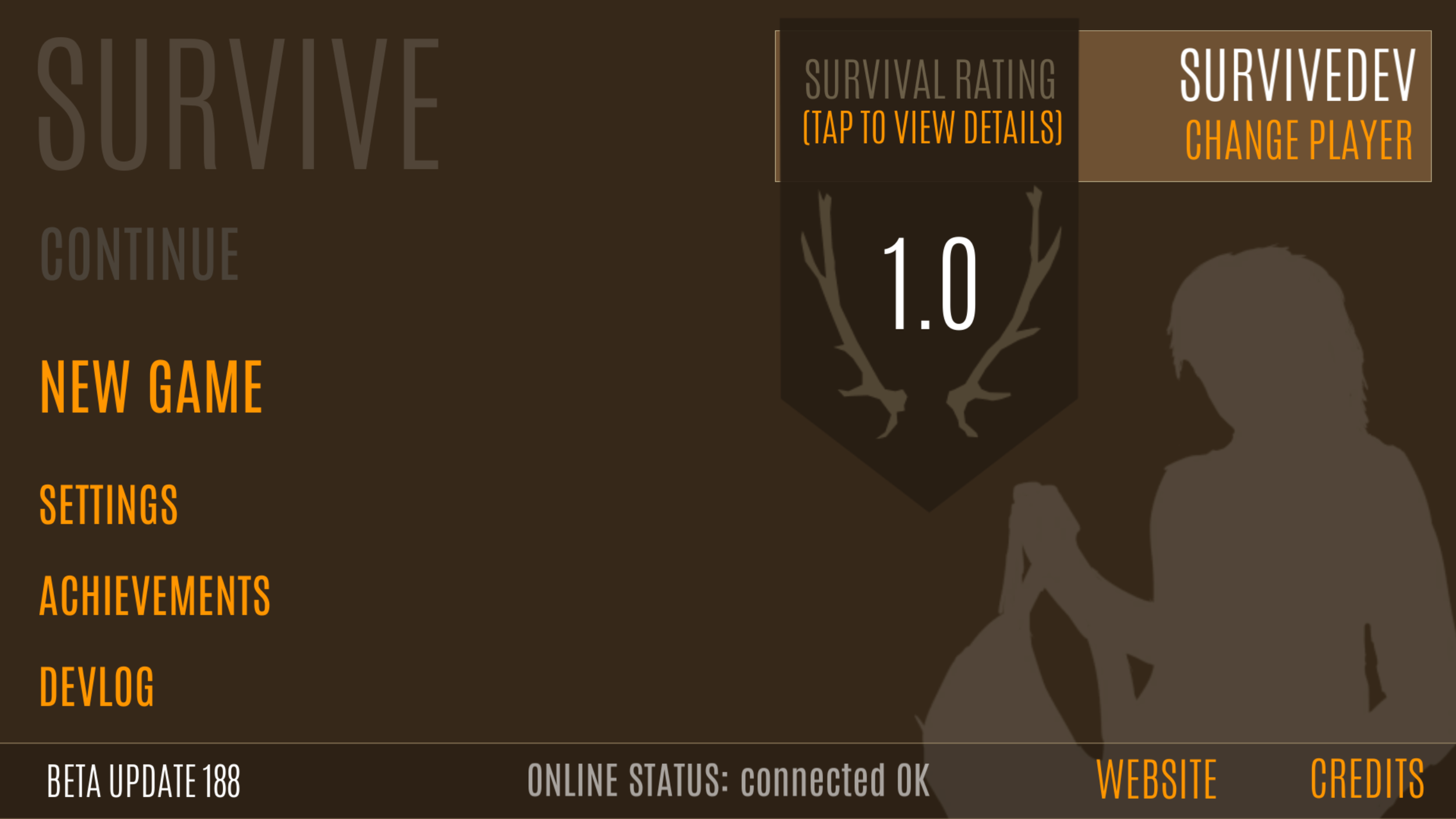 Play as male or female character. Version 188 introduces experimental survival rating.