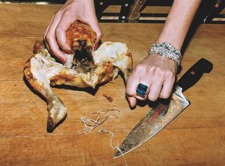 Roast chicken and Bulgari jewels, French Vogue, Paris, 1994