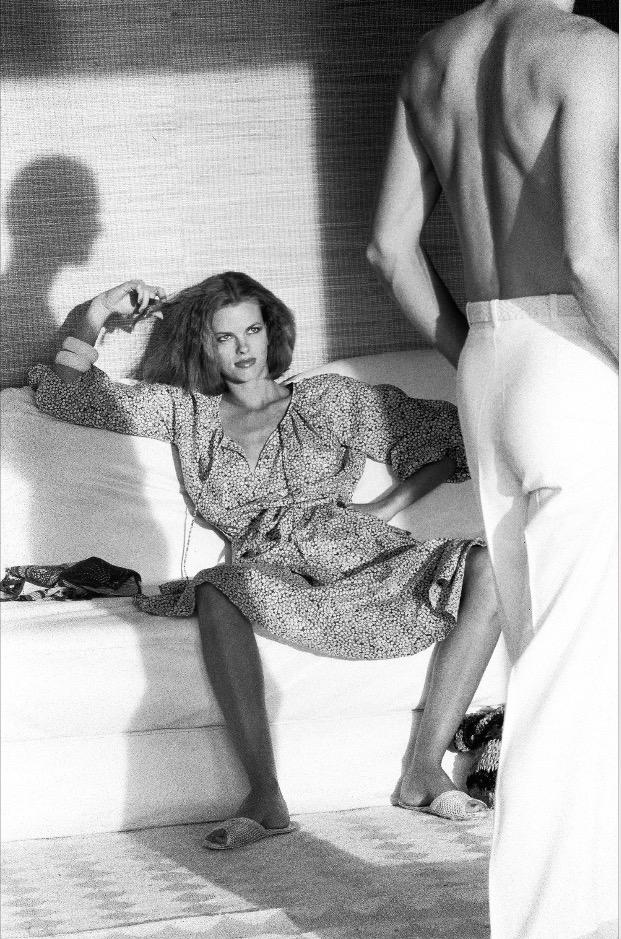 Woman regarding man, Calvin Klein, American Vogue, Saint-Tropez, 1975