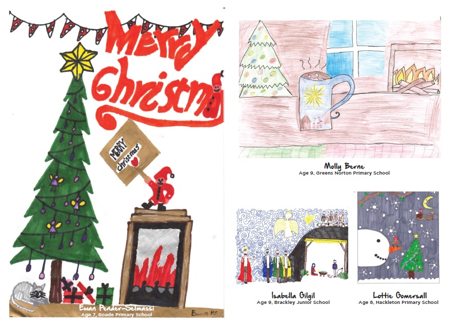 Ewan's winning design on the front, with runners-up Molly, Isabella and Lottie on the back.