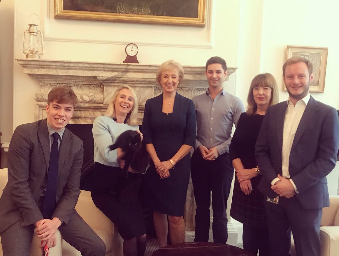 With my Parliamentary team who support me as the Member of Parliament for South Northamptonshire (L-R: Jake, Sarah, me, Luke, Maggie and Tommy) and, of course, Ossie the Cabinet Office cat!