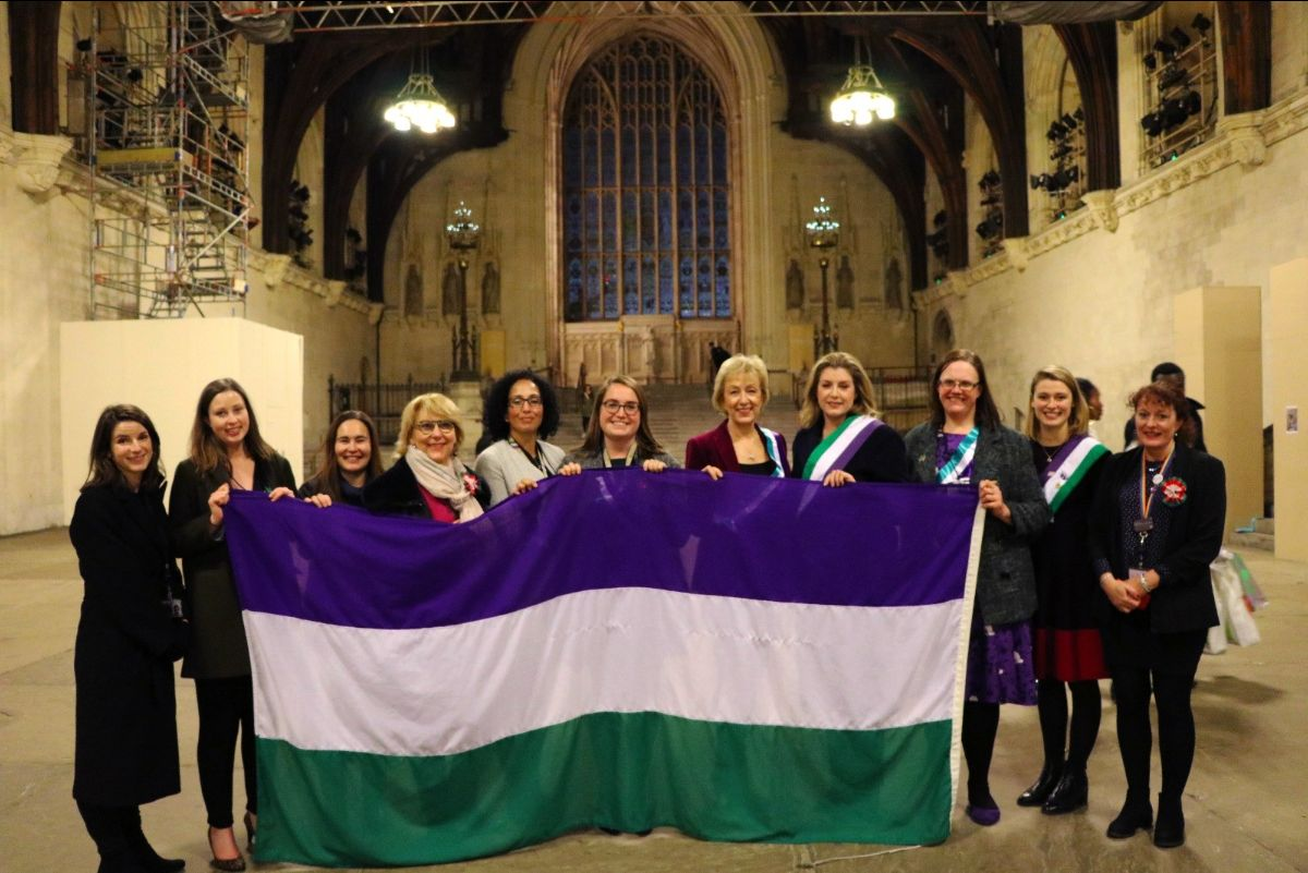 With Penny Mordaunt MP and members of the Civil Service as we welcome the Suffrage Flag back to Parliament after its UK-wide relay.