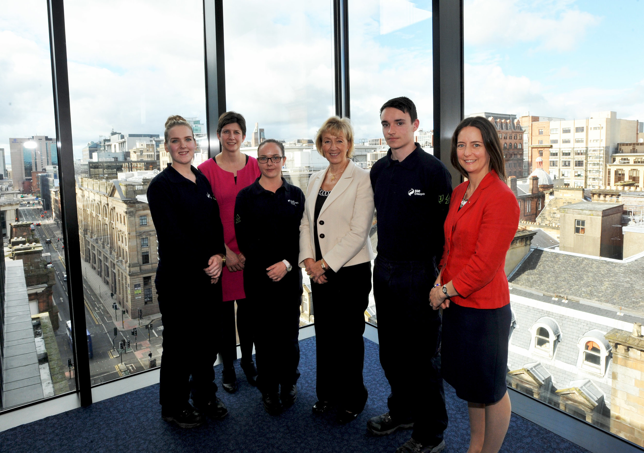 20150921 Leadsom, Alison Thewliss MP and Caroline Monaghan MP with new SSE apprentices Morna Grant, Craig Martin & Megan Dougan [02].jpg
