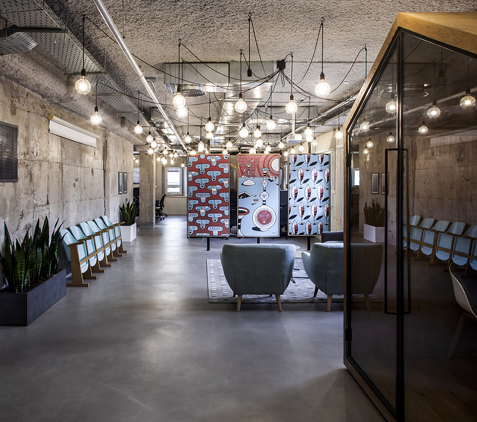 DYNAMIC YIELD   Funky, chicky and industrial are the core identifiers for the over all design language chosen for Dynamic Yield TLV offices. Situated in a magnificent Beit Haikarim, home of  Fiverr  LTD., the office ...
