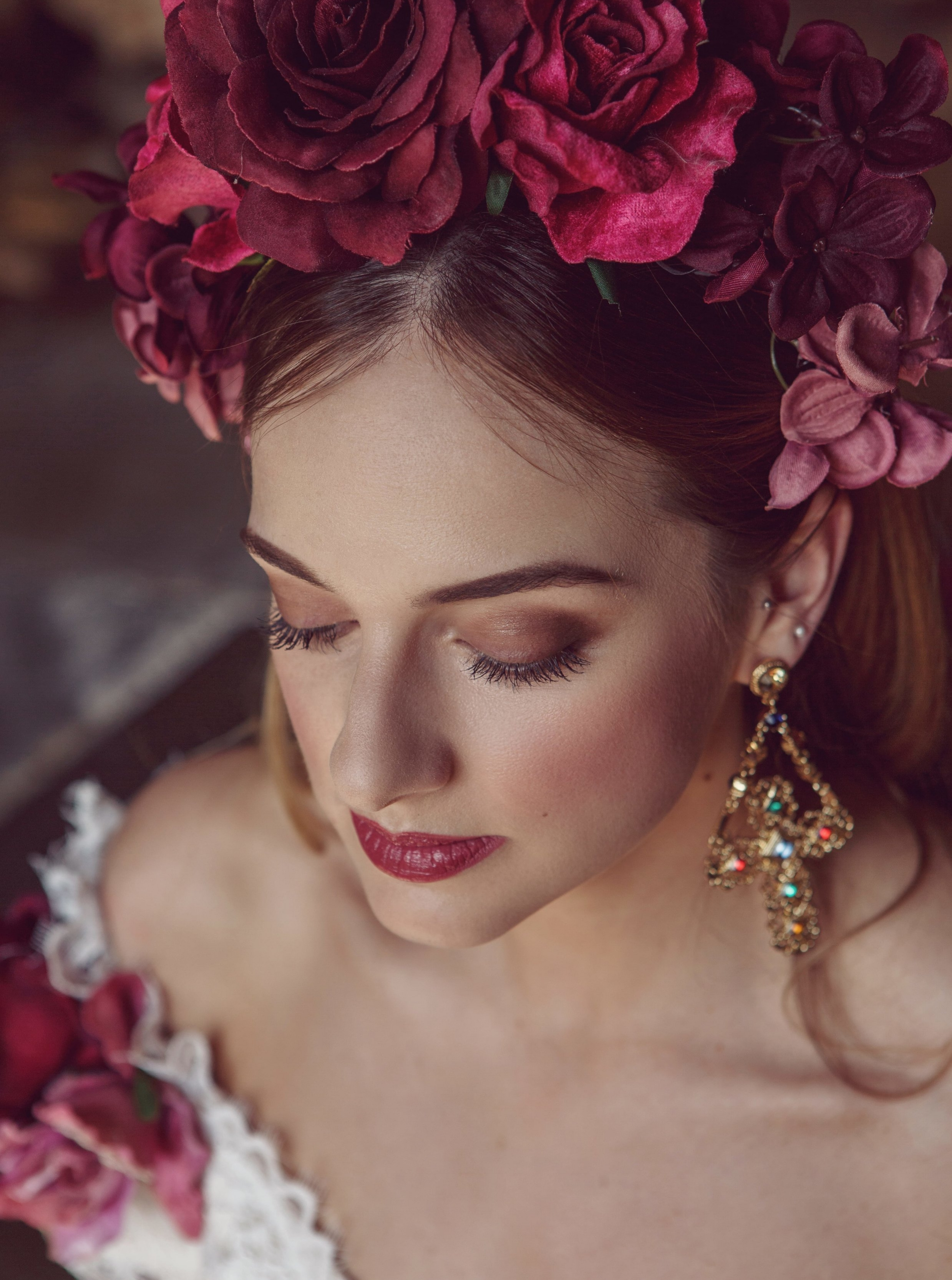 A beautiful red hair piece with some beautiful matching lipstick for this Bridal shoot-min.JPG