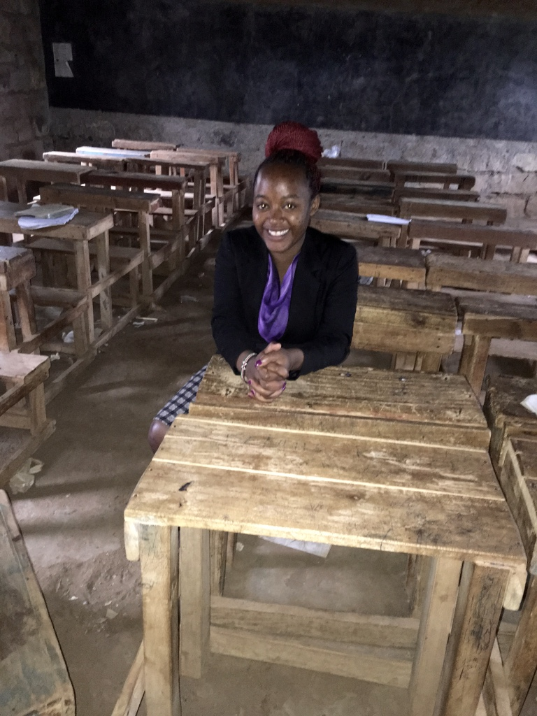 Carolyne visiting her village primary school