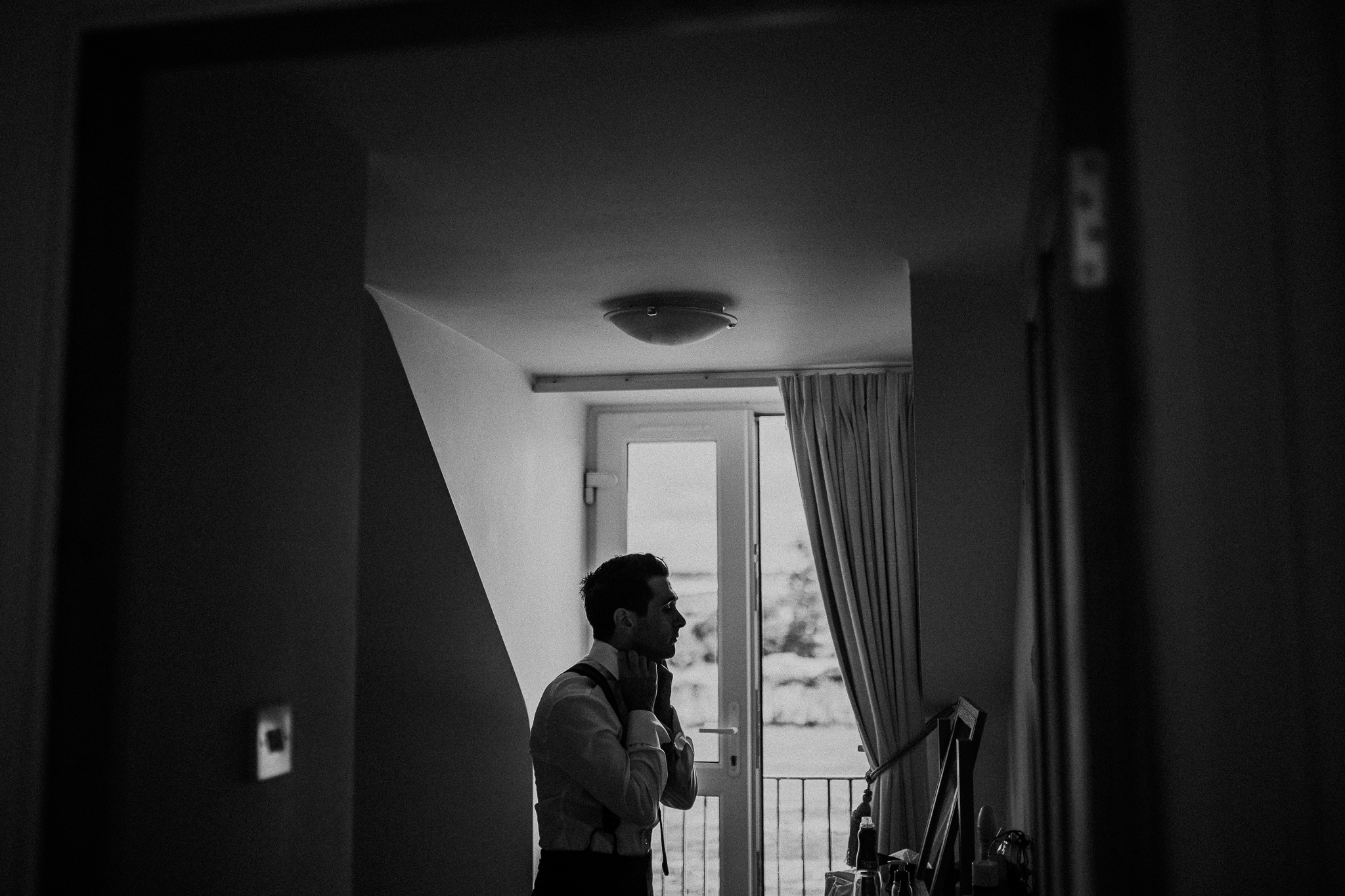 groom shadow - scotland groom shadow - groom in front of mirror - blank and white groom - black and white - fine art moment - Emma & Alex - WeddingsbyQay  (48 of 197).jpg