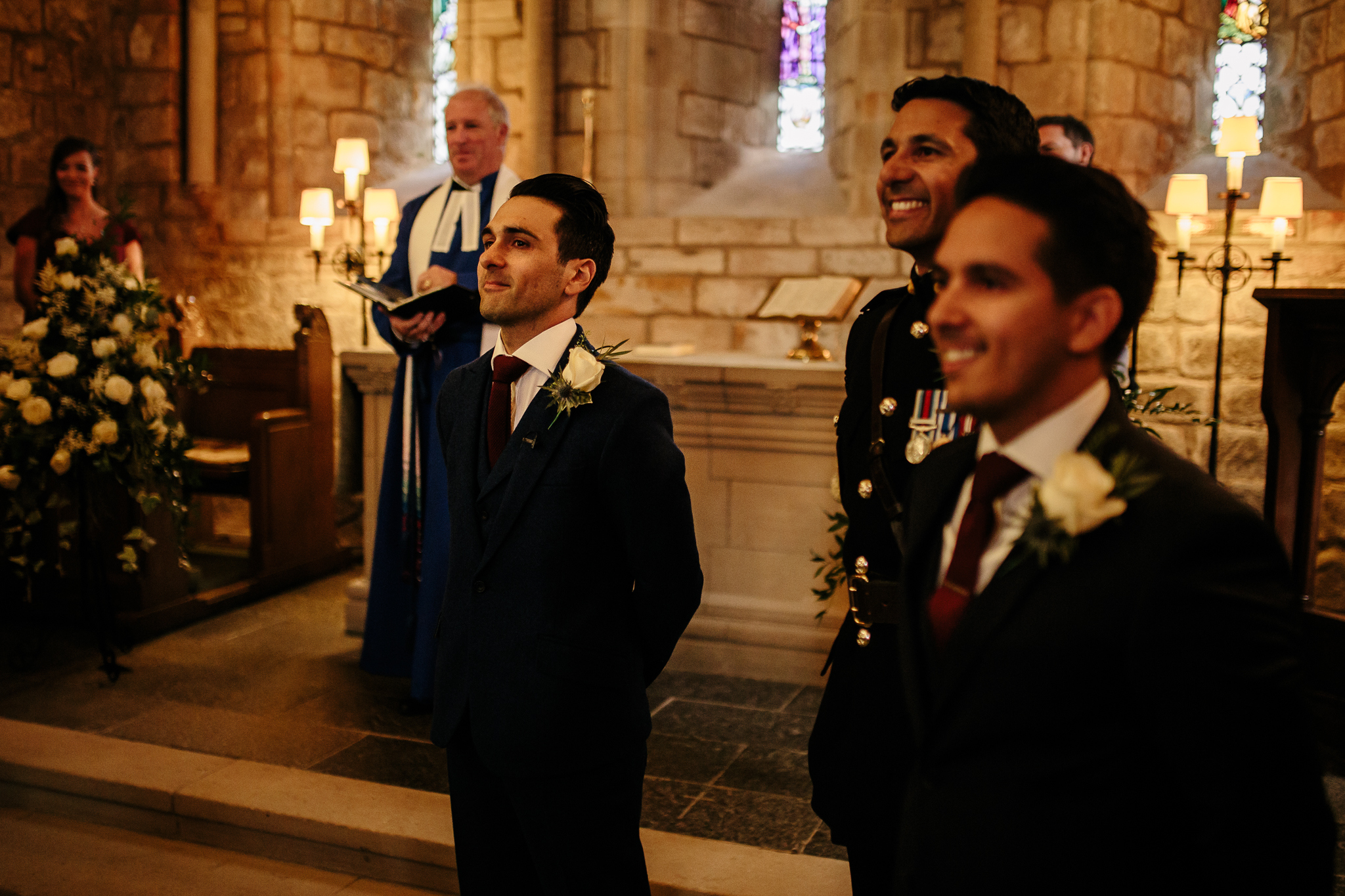FIrst look - Expression - Groom - Church - Ceremony - Fine Art Photo - Moments over Mountains - Scottish Wedding - Scotland Wedding - Scotland Groom in church