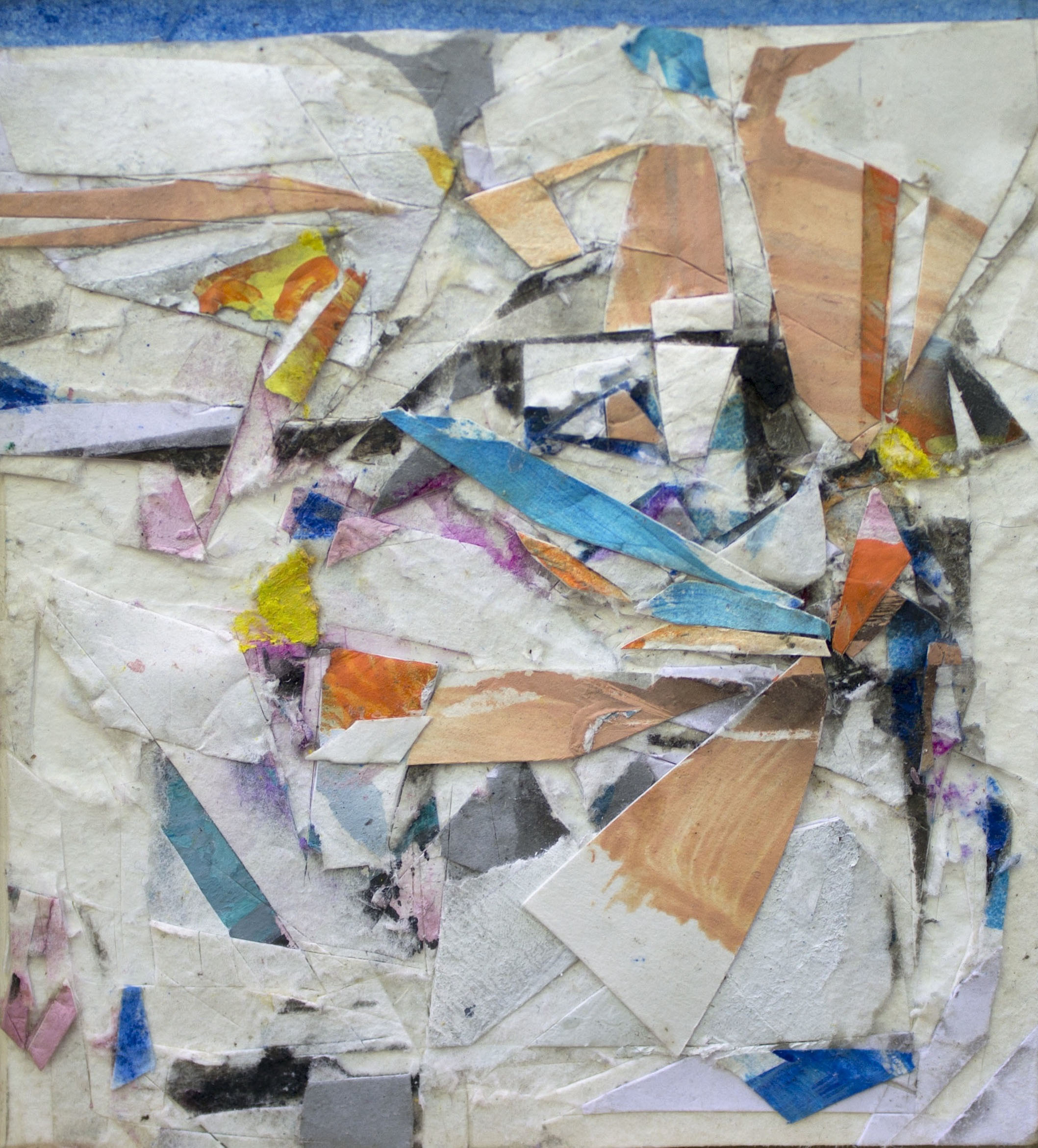 """For October, 4""""x4"""", Fumage, Pastel, Collage, Latex Paint, 2016, sold"""
