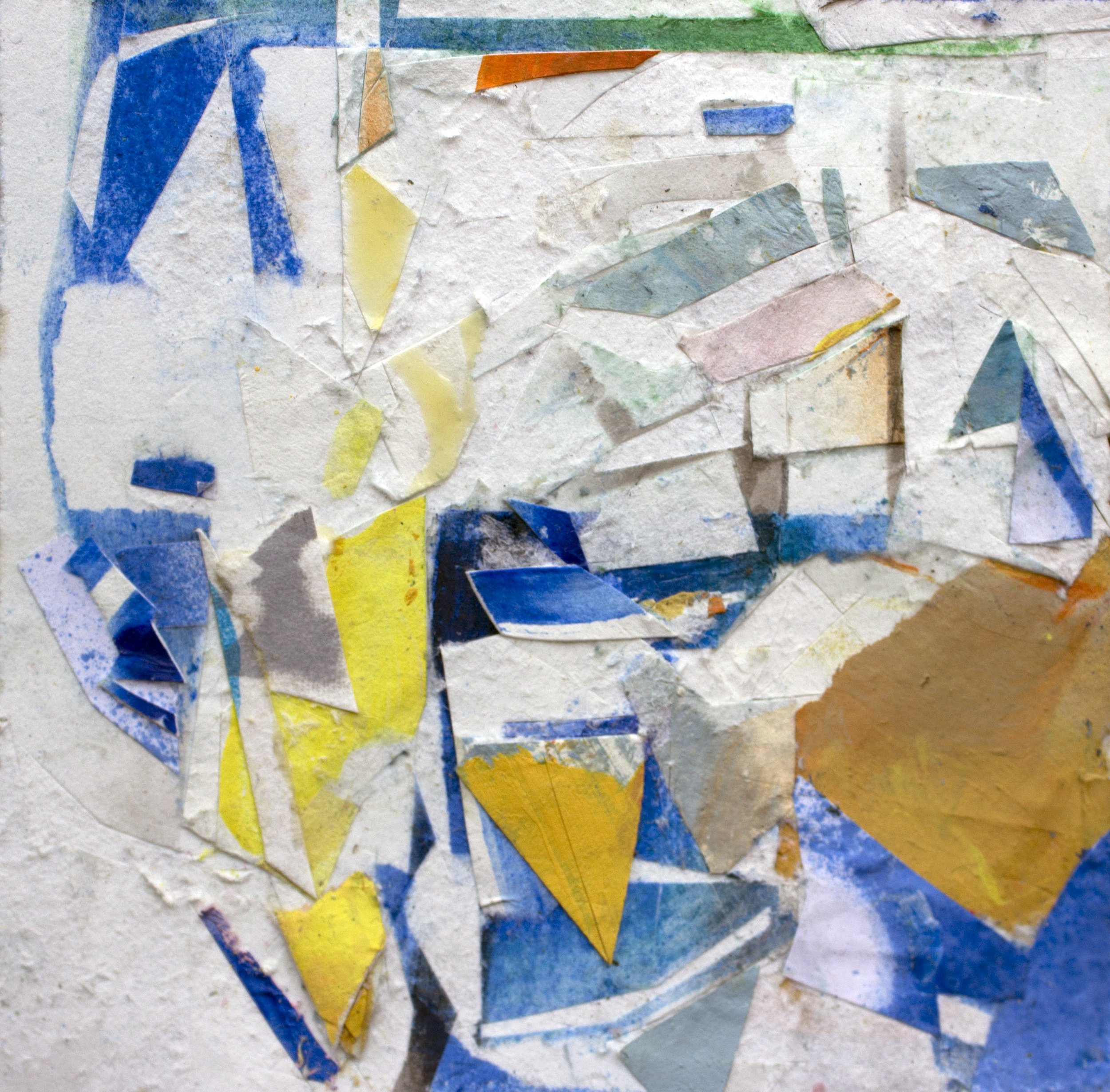 "Rock Naps,4""x4"", Fumage, Pastel, Collage, Latex Paint, 2016"