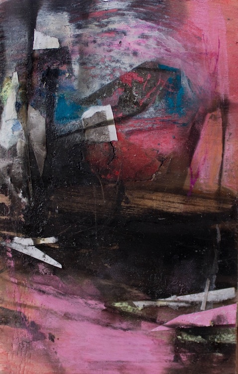 """About New Mexico,5 3/4""""x3 3/4"""",Found Scraps of Paper, Collage, Fumage, 2016, sold"""