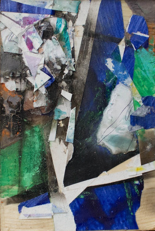 """Night Vision, 5 3/4""""x3 3/4"""",Found Scraps of Paper, Collage, Fumage, 2016, sold"""