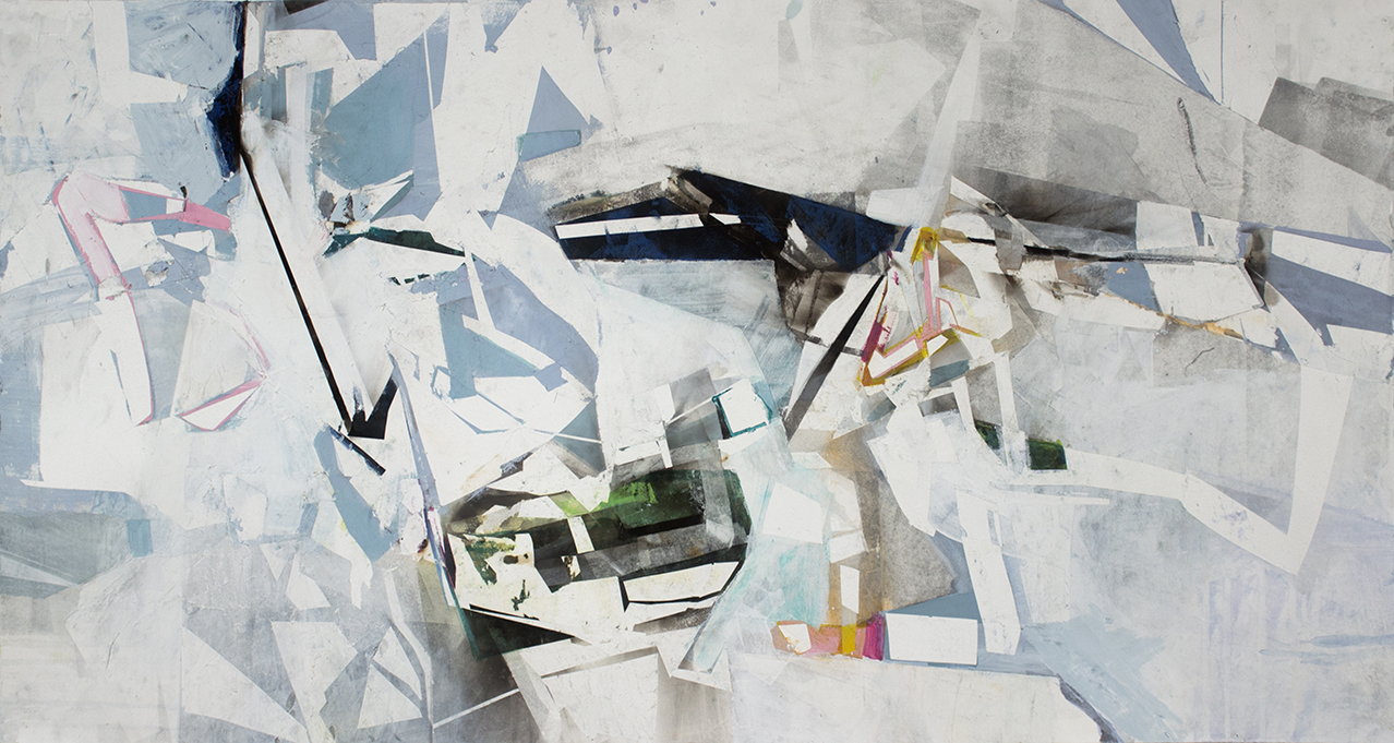 "What Goes Around, 22""x42"", Monotype, Acrylic, Fumage on Paper, 2015"