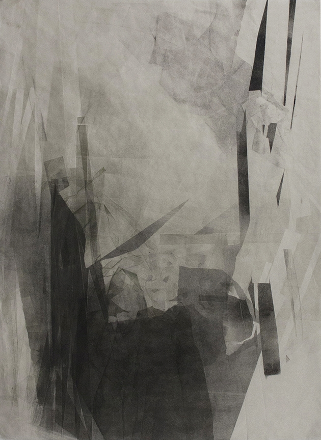 "In Place, Out, 34""x24"", Monotype on Mulberry Paper, 2014"