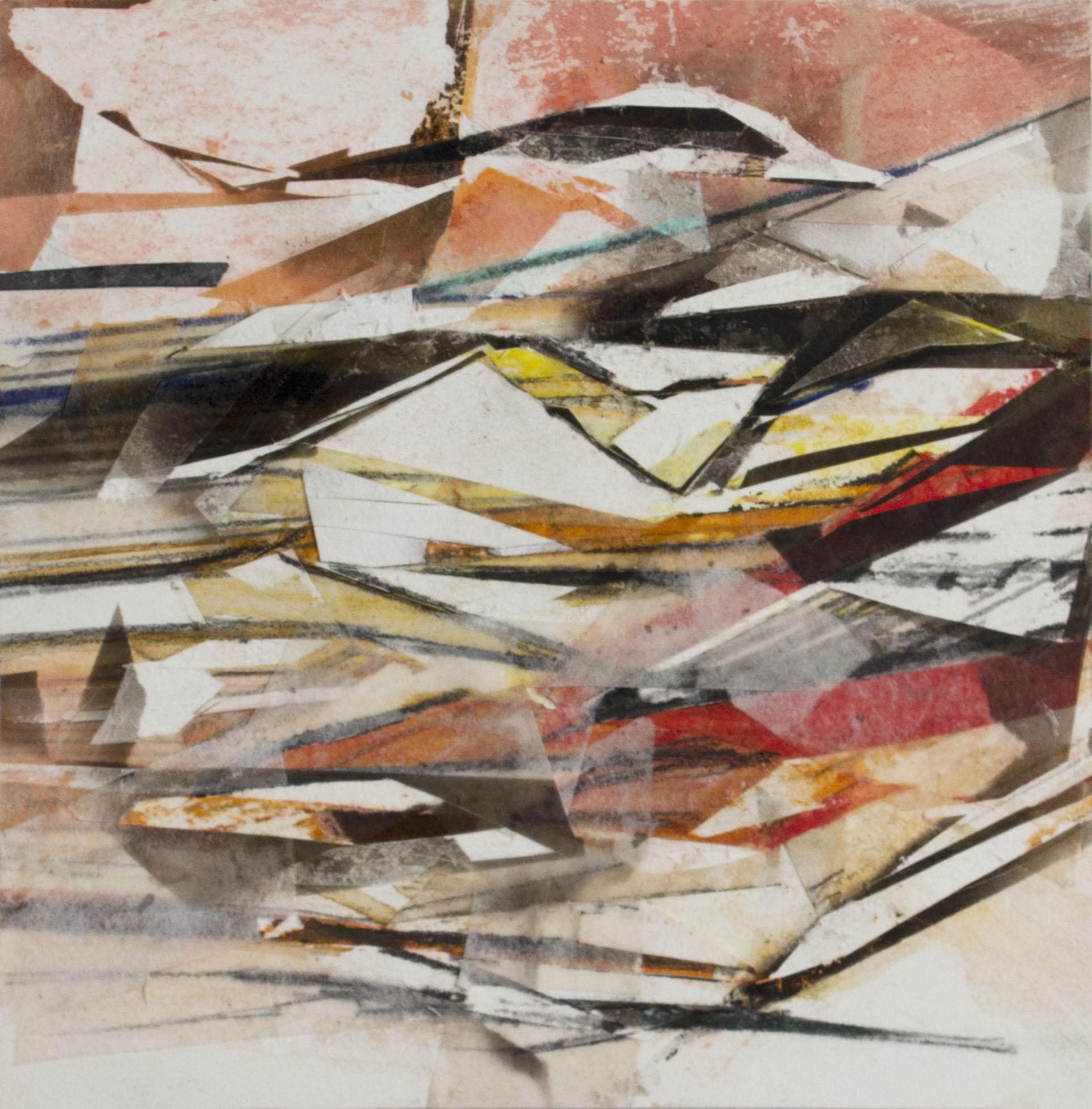 "Sunder, 6""x6"", Fumage, Pastel, Collage, 2015, sold"