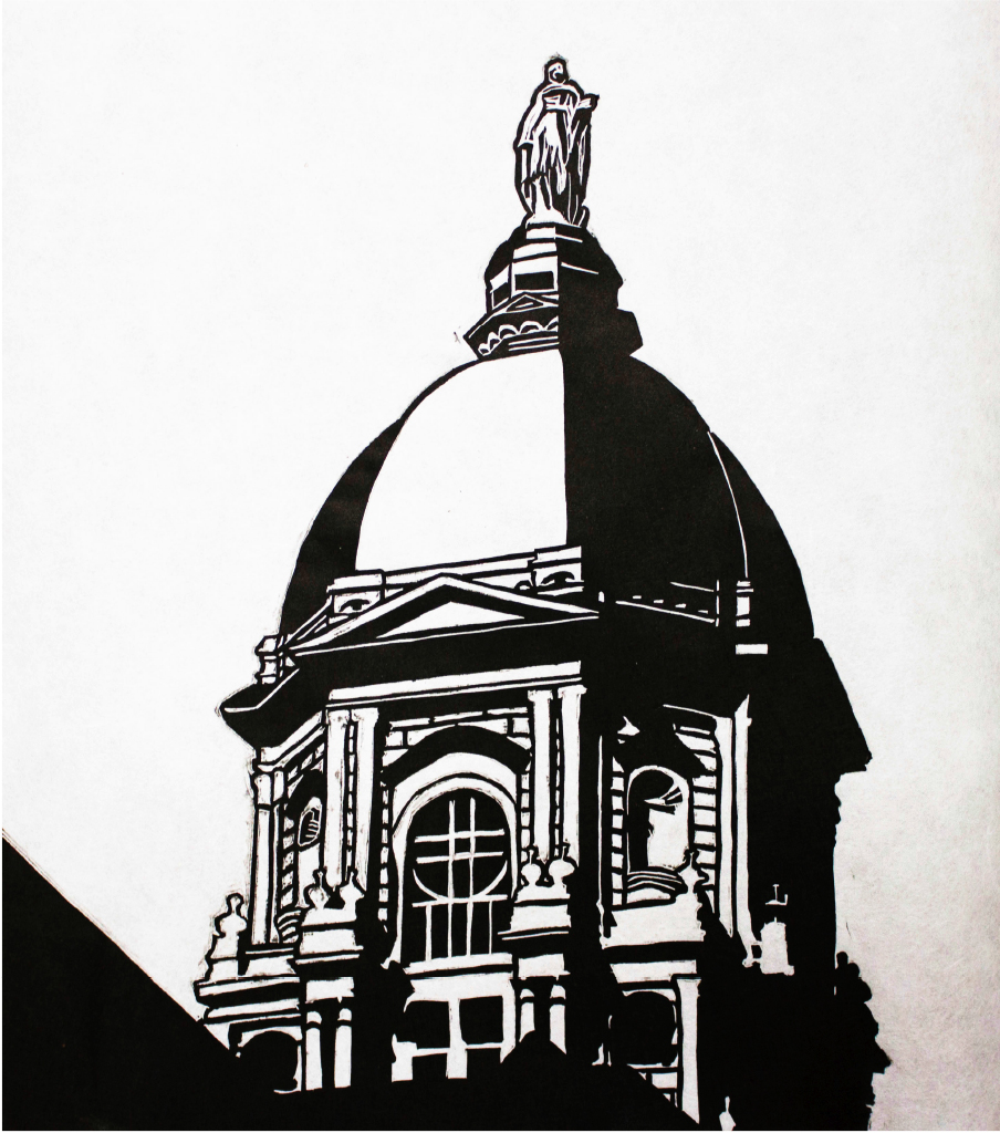 Tim Barns, Perspective in the Creative Arts, Linocut, Butler University, 2014