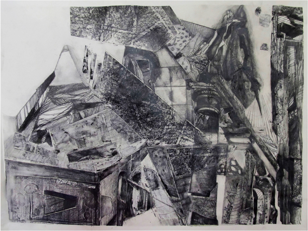 Stephanie Nui , Florence Study Abroad, Graphite, Frottage, Collage, Team Taught, Florence, Italy, Indiana University, 2014