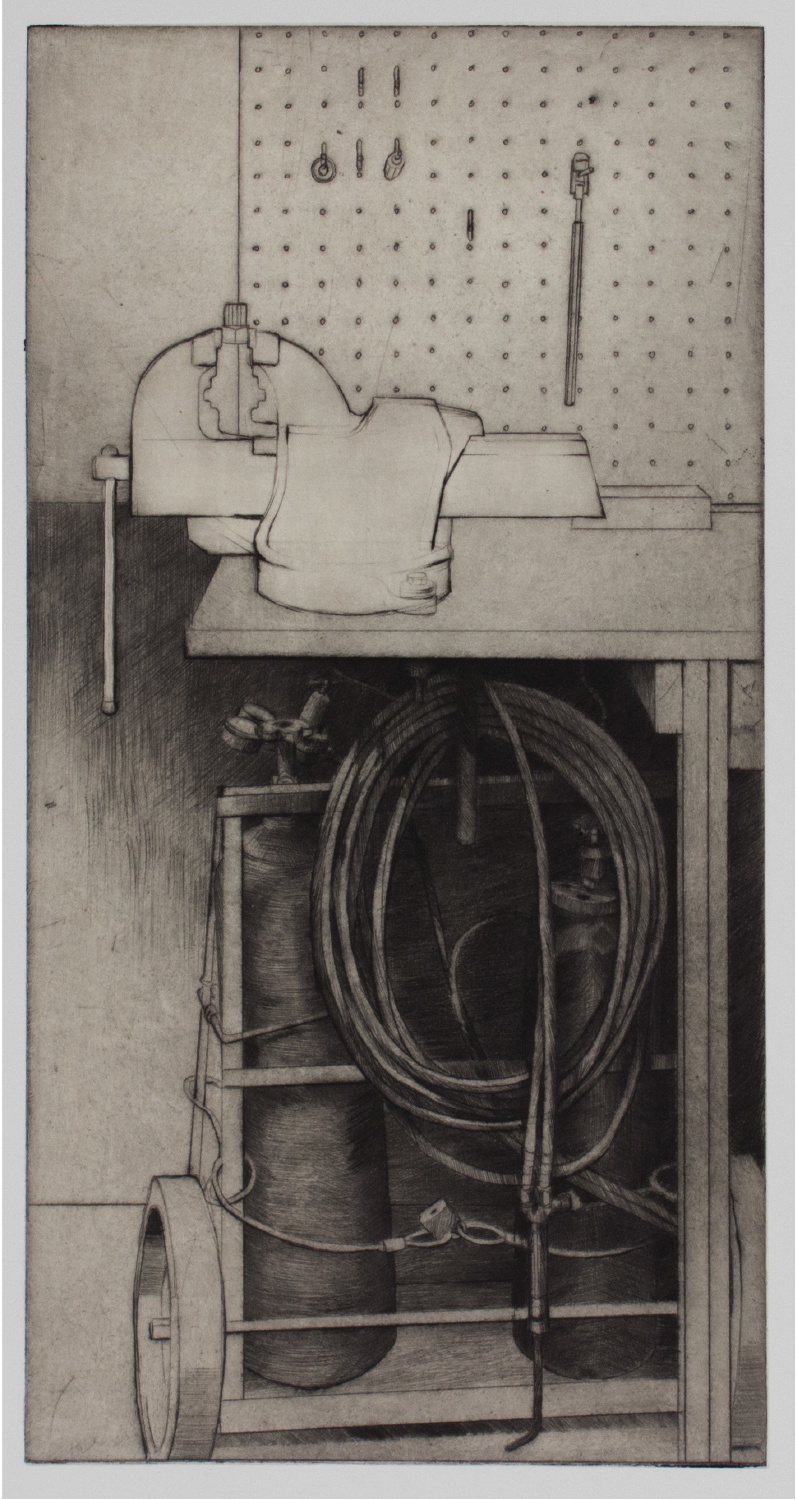 """Sean Hurley- UPSTAIRS AT THE BIKE SHOP - 15.5"""" x 7.75"""" - Drypoint with Chine Colle"""